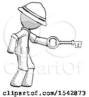 Halftone Explorer Ranger Man With Big Key Of Gold Opening Something