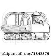 Halftone Explorer Ranger Man Driving Amphibious Tracked Vehicle Side Angle View