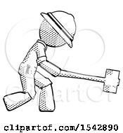 Halftone Explorer Ranger Man Hitting With Sledgehammer Or Smashing Something