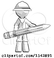 Halftone Explorer Ranger Man Writer Or Blogger Holding Large Pencil