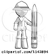 Halftone Explorer Ranger Man With Large Pencil Standing Ready To Write