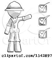 Halftone Explorer Ranger Man Standing By List Of Checkmarks