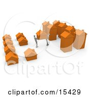 Two People Moving Their Home From A Small Neighborhood Into A Big City Symbolizing Relocation And Promotions Clipart Illustration Image by 3poD