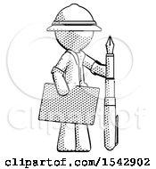 Halftone Explorer Ranger Man Holding Large Envelope And Calligraphy Pen