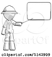 Halftone Explorer Ranger Man Giving Presentation In Front Of Dry Erase Board
