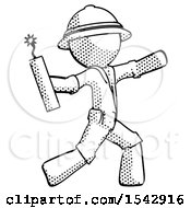 Halftone Explorer Ranger Man Throwing Dynamite