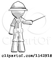 Halftone Explorer Ranger Man Teacher Or Conductor With Stick Or Baton Directing