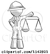 Halftone Explorer Ranger Man Holding Scales Of Justice