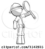 Halftone Explorer Ranger Man Inspecting With Large Magnifying Glass Facing Up