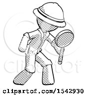 Halftone Explorer Ranger Man Inspecting With Large Magnifying Glass Right