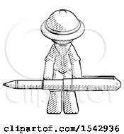 Halftone Explorer Ranger Man Weightlifting A Giant Pen