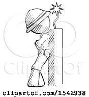Halftone Explorer Ranger Man Leaning Against Dynimate Large Stick Ready To Blow
