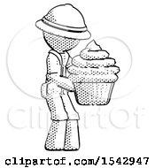 Halftone Explorer Ranger Man Holding Large Cupcake Ready To Eat Or Serve