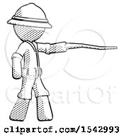 Halftone Explorer Ranger Man Pointing With Hiking Stick