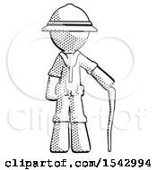 Halftone Explorer Ranger Man Standing With Hiking Stick
