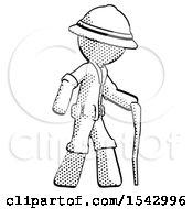 Halftone Explorer Ranger Man Walking With Hiking Stick