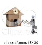 Punctual White Businesman In A Suit Holding A Briefcase And Sticking Out From An Arm Of A Cuckoo Clock Upon The Hour Of 9am Symbolising The Start Of A New Work Day Clipart Illustration Image by 3poD