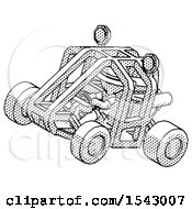 Halftone Explorer Ranger Man Riding Sports Buggy Side Top Angle View