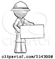Halftone Explorer Ranger Man Presenting Large Envelope