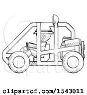 Halftone Explorer Ranger Man Riding Sports Buggy Side View