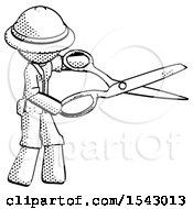 Halftone Explorer Ranger Man Holding Giant Scissors Cutting Out Something