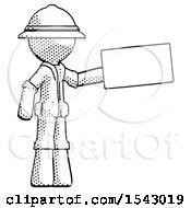 Halftone Explorer Ranger Man Holding Large Envelope