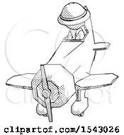 Halftone Explorer Ranger Man In Geebee Stunt Plane Descending Front Angle View