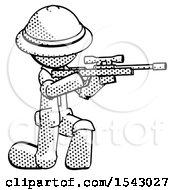 Halftone Explorer Ranger Man Kneeling Shooting Sniper Rifle
