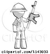 Halftone Explorer Ranger Man Holding Automatic Gun