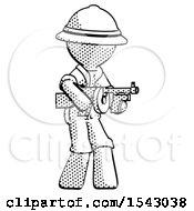 Halftone Explorer Ranger Man Tommy Gun Gangster Shooting Pose