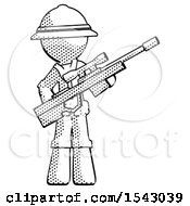 Halftone Explorer Ranger Man Holding Sniper Rifle Gun