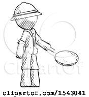 Halftone Explorer Ranger Man Frying Egg In Pan Or Wok Facing Right