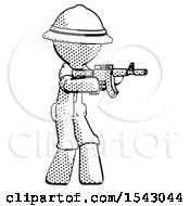 Halftone Explorer Ranger Man Shooting Automatic Assault Weapon