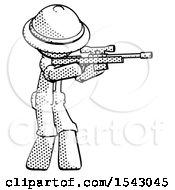 Halftone Explorer Ranger Man Shooting Sniper Rifle