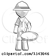 Halftone Explorer Ranger Man Frying Egg In Pan Or Wok
