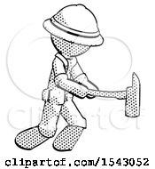 Halftone Explorer Ranger Man With Ax Hitting Striking Or Chopping