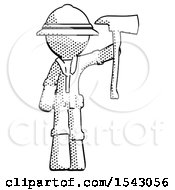 Halftone Explorer Ranger Man Holding Up Red Firefighters Ax