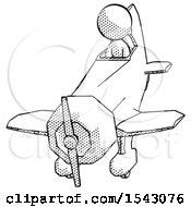 Halftone Design Mascot Woman In Geebee Stunt Plane Descending Front Angle View