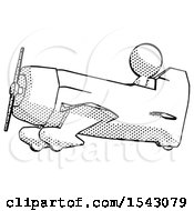 Halftone Design Mascot Man In Geebee Stunt Aircraft Side View