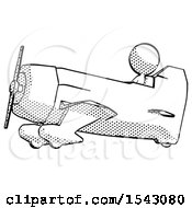 Halftone Design Mascot Woman In Geebee Stunt Aircraft Side View