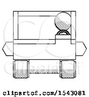 Halftone Design Mascot Man Driving Amphibious Tracked Vehicle Front View