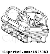 Halftone Design Mascot Man Driving Amphibious Tracked Vehicle Top Angle View