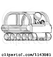 Halftone Design Mascot Man Driving Amphibious Tracked Vehicle Side Angle View