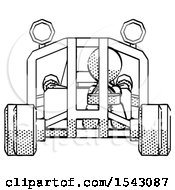 Halftone Design Mascot Man Riding Sports Buggy Front View