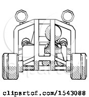 Halftone Design Mascot Woman Riding Sports Buggy Front View
