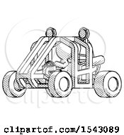 Halftone Design Mascot Man Riding Sports Buggy Side Angle View