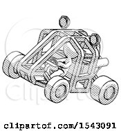 Halftone Design Mascot Man Riding Sports Buggy Side Top Angle View