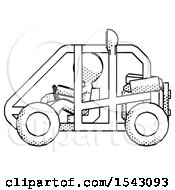 Halftone Design Mascot Man Riding Sports Buggy Side View