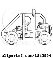 Halftone Design Mascot Woman Riding Sports Buggy Side View