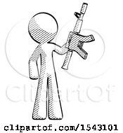 Halftone Design Mascot Man Holding Automatic Gun